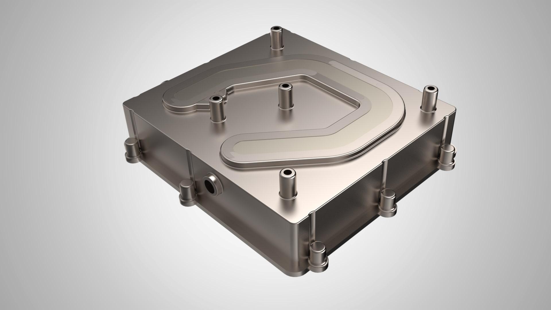 Äußerer Teil eines Wasserkühlkörpers für E-Mobilität nach FSW
