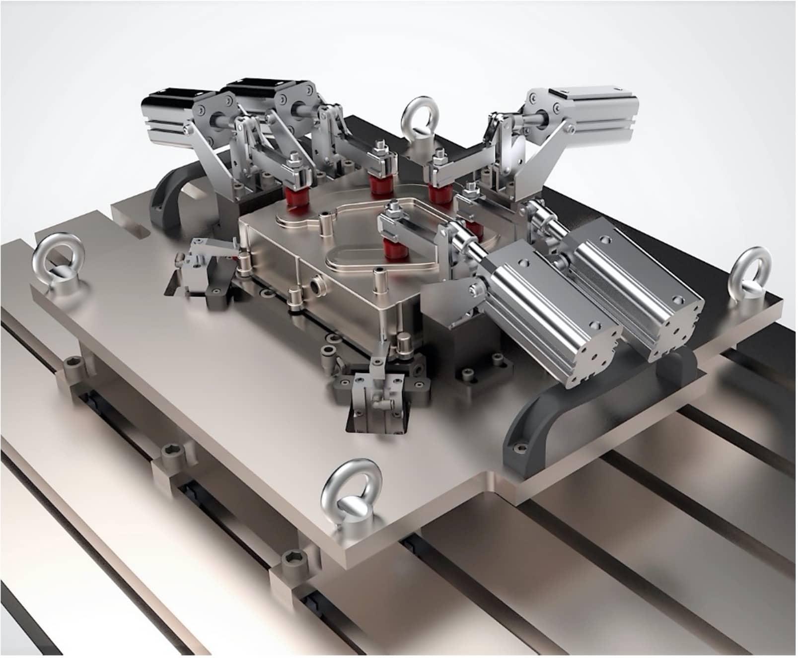 Spannvorgang FSW-Automatik-Vorrichtung