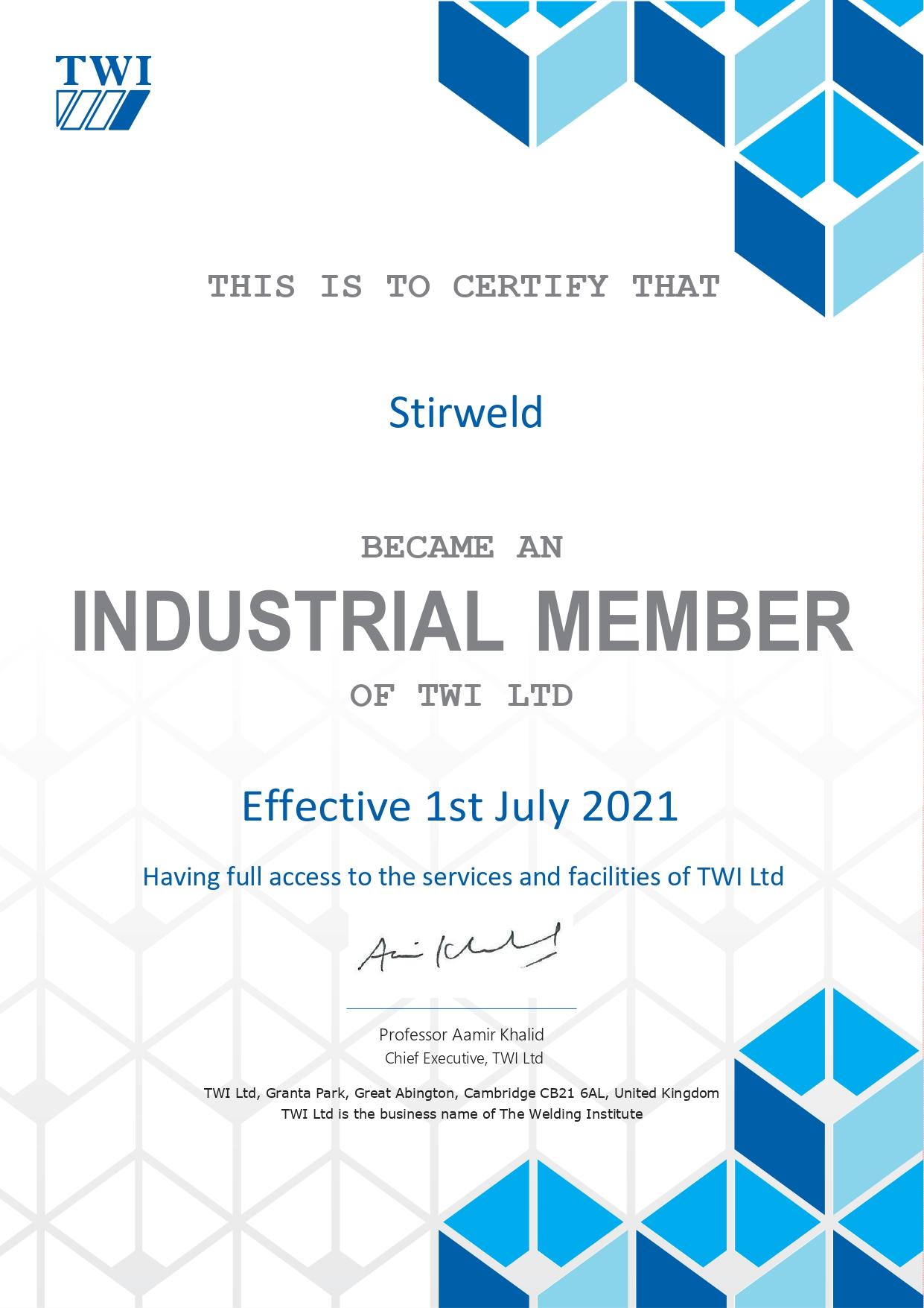 TWI industrial member: Stirweld