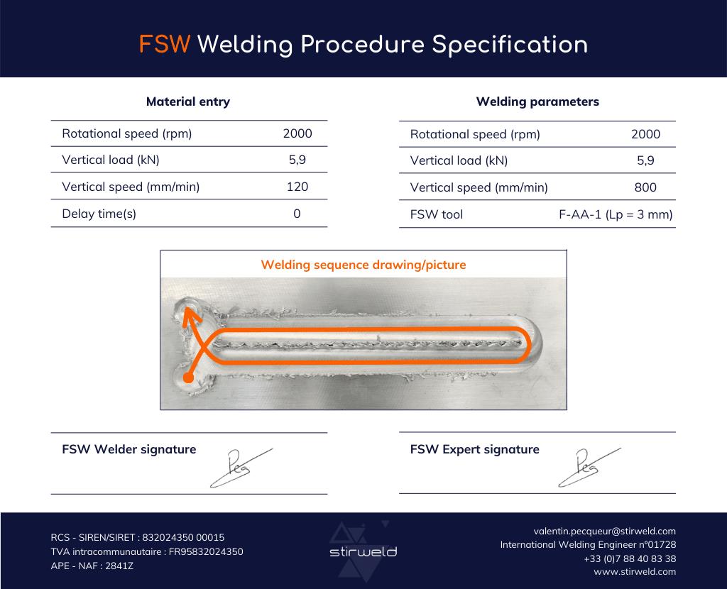 Spécification du procédé de soudage FSW